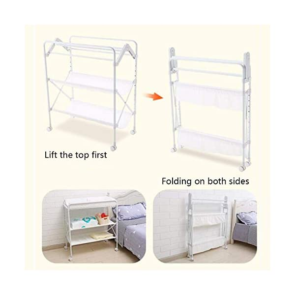 White Newborn Changing Table On Wheels, Baby Bathing Massage Baby Cot Foldable Changing Diapers Dresser with Pad GUYUE Two in one design- Baby changing table can be used as baby massaging table as well or dry your baby's small clothes, also can bathing. Iron tube paint + high quality plastic + polyester 3D mesh. Smooth mute caster. 5