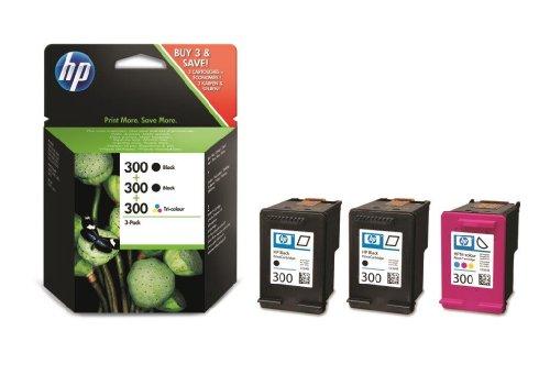 Hp 300 cartuccia originale getto d'inchiostro ad alta capacità, confezione da 3 cartucce, 2 nero + tricromia