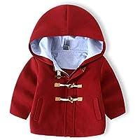 Abrigo de Lana para Niños, Niño pequeños Moda Encapuchado Chaqueta Manga Larga Cortavientos Abrigo Caliente/Azul Marino/Caqui / Rojo vino(90-104cm)