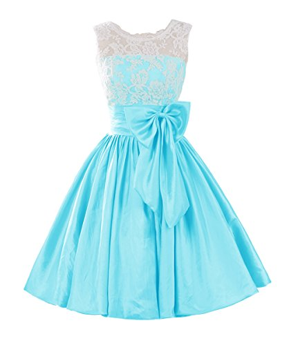 Dresstells,fête de la rentrée longueur genou robe courte de cocktail/bal taffetas avec noeud à boucles Bleu Clair