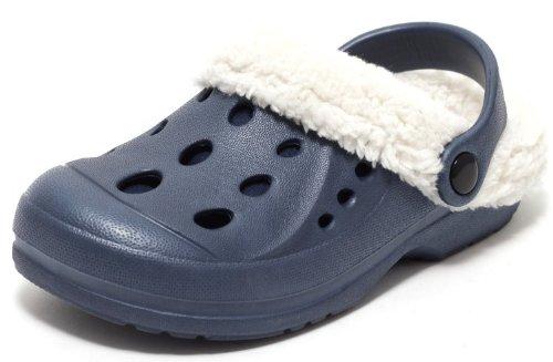 ZAPATO EUROPE Kinder Sommer und Winter Clogs Hausschuhe Puschen Slipper Schuhe gefüttert mit herausnehmbarem Teddyfutter Gr. 33
