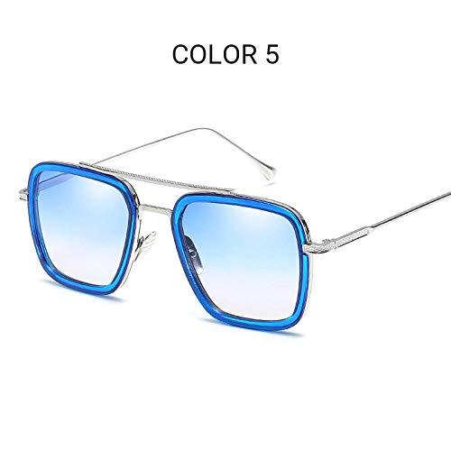 Kuletieas Sonnenbrille Herren Iron Man Square Sonnenbrille Retro Gradient Transparent Glasses @ Color 5