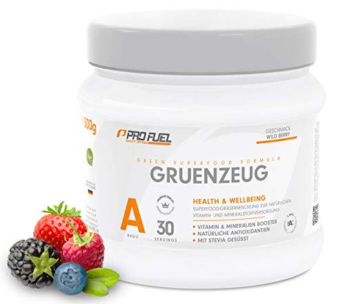 GRÜNZEUG Superfood Vitamin Pulver – Das Beste aus über 40 Sorten Obst, Gemüse, Algen und Gräsern – mit Stevia gesüßt! - 300 g (WILD BERRY)