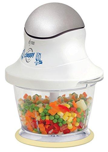 dyras® ''Choppy'' Elektrischer Multi-Zerkleinerer / Universal-Zerkleinerer / Multi-Hacker / Mixer (300 Watt, 0,75 L Kunststoffbehälter) mit 2 Edelstahl-Messern – zum Hacken, Zerkleinern und Mixen von Obst, Gemüse, Nüssen, Kräutern, Zwiebeln, Knoblauch, Salat usw., weiß-silber
