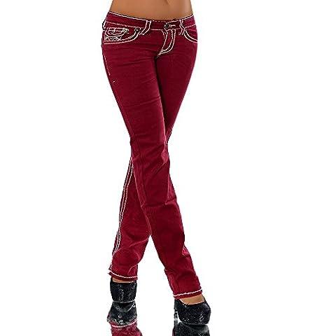 H922 Damen Bootcut Jeans Hose Damenjeans Hüftjeans Gerades Bein Dicke Naht Nähte, Farben:Bordeaux;Größen:42