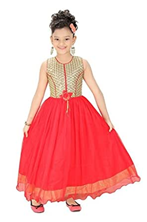 Trendy Girls Party Wear Tomato Long Gown
