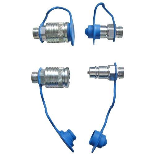 Set Hydraulik- Steckkupplungen 2x Muffe 2x Stecker 12L + 4x Staubschutz blau