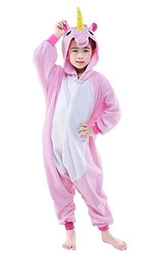 Rojeam Kinder Regenbogen Einhorn Pyjamas Tier Kostüm Cosplay Onesie Kigurumi Weihnachten Halloween Geschenk