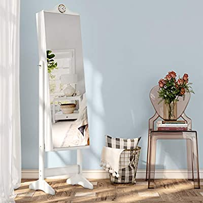 SONGMICS Schmuckschrank, Spiegelschrank mit 6 Uhrenfächern, extra breitem Spiegel, LED-Beleuchtung, 41 x 36,5 x 157 cm, weiß JBC75WT