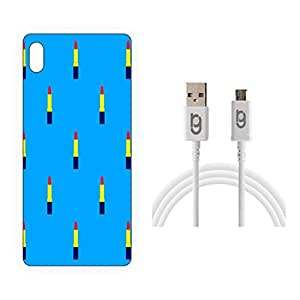 Designer Hard Back Case for Sony Xperia M4 Aqua with 1.5m Micro USB Cable