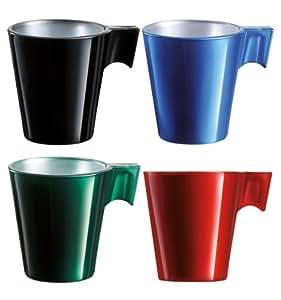 Luminarc 926227 Series Flashy Lot de 4 tasses à expresso Vert/rouge/noir/bleu 80 ml