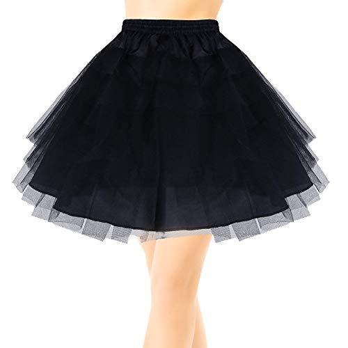 Kurze Unterrock Multi-Schichten Tulle Petticoat-Krinoline Unterkleid für Mädchen oder Frauen(Schwarz)