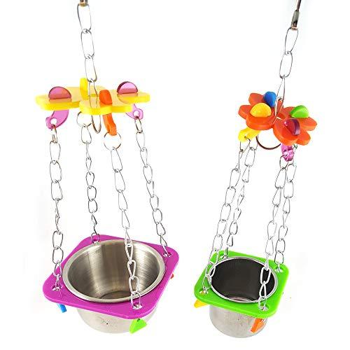 Ndier Haustier-Papageien-Spielzeug-Käfig-hängendes Acryl Halloween Spielzeug mit Edelstahl-Schüssel für Obst oder Gemüsea 1PC -
