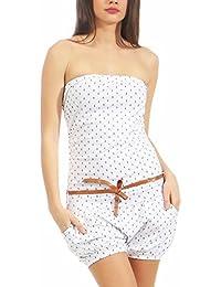 Malito Damen Einteiler mit Anker Print   Kurzer Overall Schulterfrei    Jumpsuit mit… feb841bd43