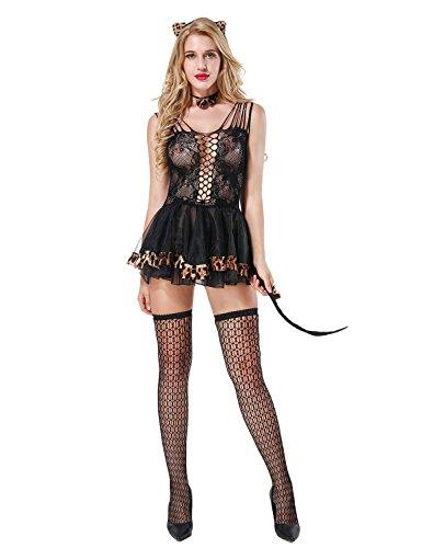 Yidarton Damen Spitze Unterwäsche Sexy Dessous Set Erotik Kostüme Babydoll Lingerie Reizwäsche (Schwarz) (Frauen Sexy Kostüme)