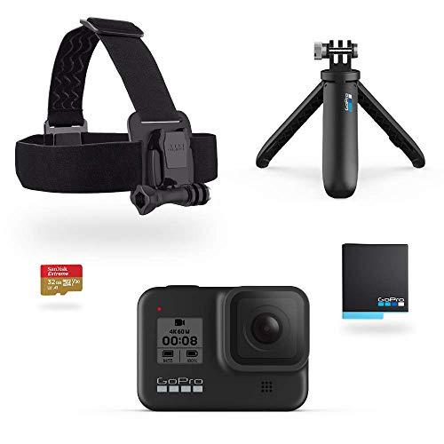 GoPro Pacchetto HERO8 Black include Shorty cinghia per la testa batteria di riserva e scheda di memoria da 32 GB