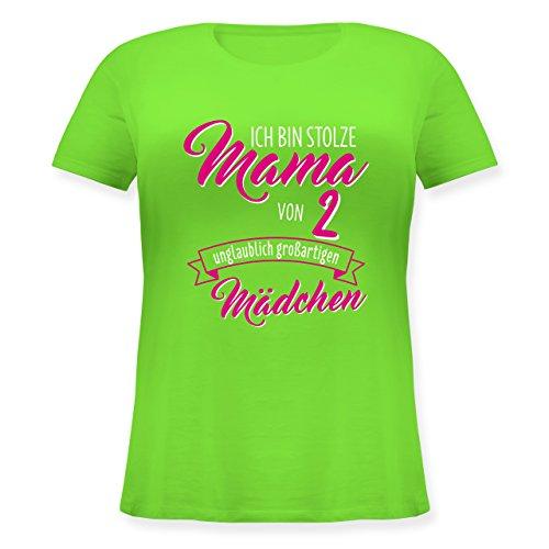 Muttertag - Ich bin stolze Mama von 2 unglaublich großartigen Mädchen - Lockeres Damen-Shirt in großen Größen mit Rundhalsausschnitt Hellgrün