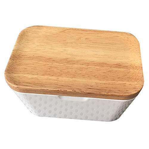 P prettyia burriera, contenitore salva burro fresco scatola di burro con coperchio in legno - 250ml