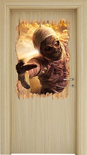 Mumie greift an Holzdurchbruch im 3D-Look , Wand- oder Türaufkleber Format: 92x62cm, Wandsticker, Wandtattoo, (Bilder Kostüm Mumie)