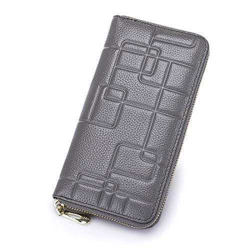 Karidesh Damen Leder Brieftasche aus Leder mit Reißverschluss Lange Brieftasche Clutch Wristlet (Color : Gray)