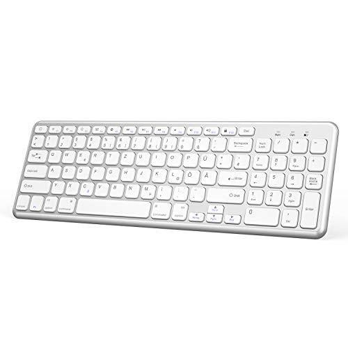 OMOTON deutsche Bluetooth Tastatur für iPad Pro 11,iPad 2018/2017,iPad 5/4/3/2,iPad Air 2/1,iPad Pro 10.5,iPad Pro 12.9,iPhone XS,iPhone 8 Plus/iPhone 8,QWERTZ Layout mit Nummernblock,Kompakte,Silver 11 Bluetooth