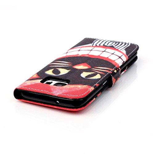 Coque pour Apple iPhone 5S/5,Housse en cuir pour Apple iPhone 5S/5,Ecoway Colorful imprimé étui en cuir PU Cuir Flip Magnétique Portefeuille Etui Housse de Protection Coque Étui Case Cover avec Stand  Big dents de chat