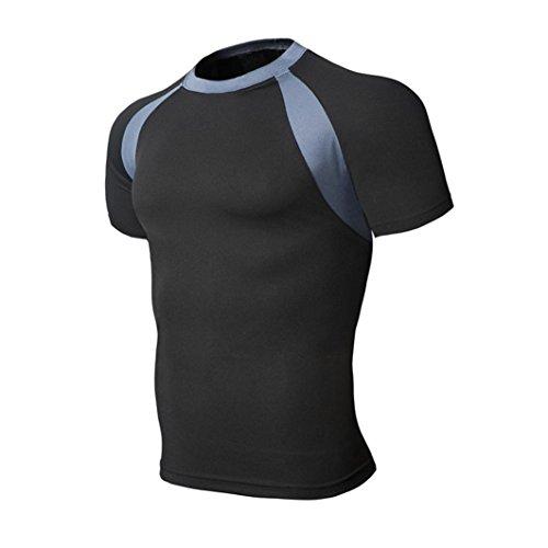 Lustige Schwarze Mann Kostüme (Mode Herren Normaler Polyester Atmungsaktiv Amlaiworld Patchwork Sport T Shirt (Schwarz,)