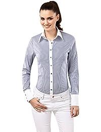 VB Damen Bluse Slim Fit Gestreift Easy Iron / Bügelleicht Langarm