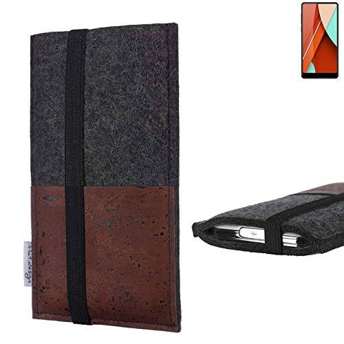 flat.design Handy Hülle Sintra für Bluboo D5 Pro Handytasche Filz Tasche Schutz Kartenfach Case braun Kork