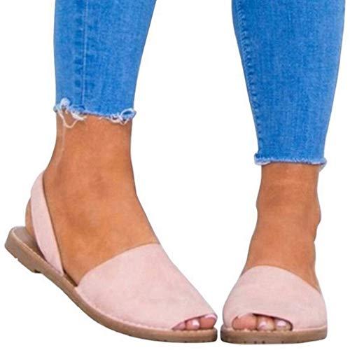Sandalen Damen Sommer Sandaletten Flachen Frauen Knöchelriemchen Espadrille Plateau Flip Flop Sommersandalen Bequeme Elegante Schuhe Schwarz Weiß Rosa Gr.34-44 PK41