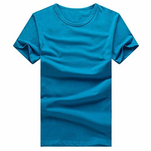 QIYUN.Z Degli Uomini Di Colore Misto Solido Tee Shirts Estate Del Cotone Maniche Corte Squadra Camicetta Blue Lake