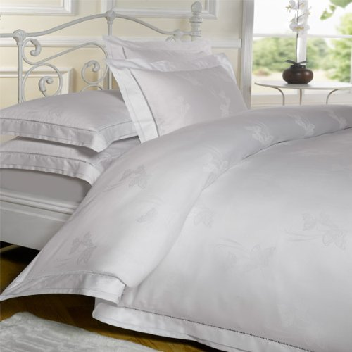 Emma Barclay Bedding Butterfly Dreams Duvet Cover Set 100% Cotton Percale 300 Thread Count, White, SuperKing