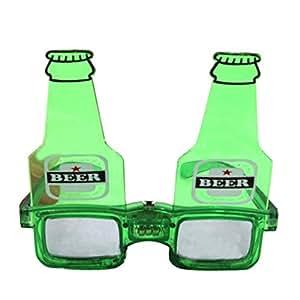 Souarts Bier Brille Oktoberfest Fasching Karnevall deko Party Zubehör leuchtende Bier Partybrille mehr witzig Design (Grün)