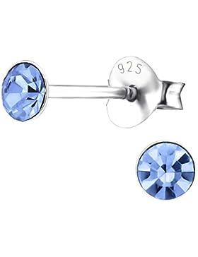 Laimons Damen-Ohrstecker Zirkonia rund blau Sterling Silber 925