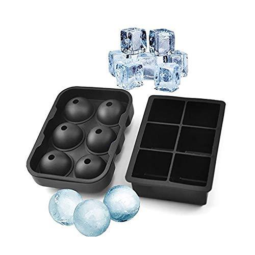YILANS 6-Gitter-Silikonformen, Silikon-Eiswürfel-Tabletts Satz von 2 Lebensmittelbehältern, wiederverwendbar zum Backen von Pralinenofen Mikrowelle