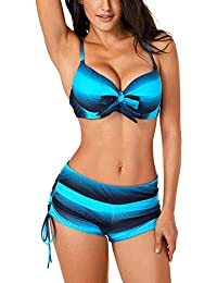 DOKOTOO Womens Push Up Bikini Sets Swimwear with Swim Shorts