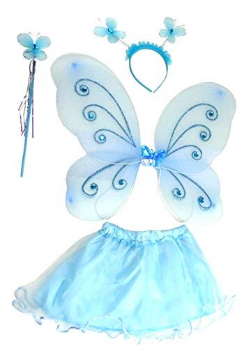 Evil Wear Kinder Prinzessin Kostüm Elfen Verkleidung Feen Set mit Flügeln türkis