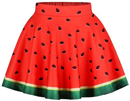 Ocean Plus Mädchen Bunt Faltenrock Vintage 1950er-Jahre Mini Skater Rock Hohe Taille Mehrfarbig Tanzen Tutu Gefalteter Röcke (M (Referenzhöhe: 145-155 cm), - Ananas Kostüm Tutu