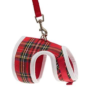 Harnais pour chat Expawlorer - Pour Noël - En joli tissu écossais rouge