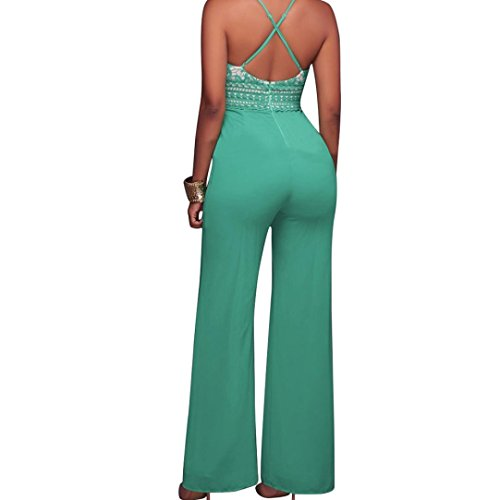 FNKDOR Women Sexy Deep V Camisole Jumpsuits Lace Evening Party Bodycon Jumpsuits Vert