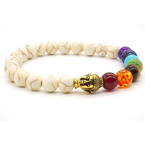 Pulsera elástica unisex, cuentas redondas de piedras preciosas naturales y de lava blanca, diseño con cabeza de Buda, para el equilibrio y la curación