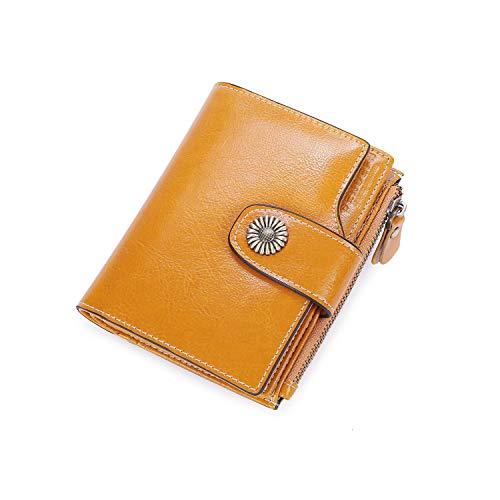 Portafoglio donna in pelle, rfid portafogli donna piccoli con portamonete, portafoglio da donna piccolo con cerniera, bifold porta carte di credito (giallo)