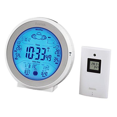 Hama Funk-Wetterstation EWS-830 mit Funkuhr (Temperaturalarm, Wettervorhersage und Sonnen-/Mondphasenanzeige (inkl. Außensensor, Reichweite 50 m)) weiß