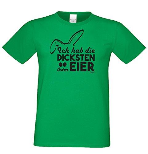 Männer-Oberteil zu Ostern Tshirt mit Hasenmotiv Ideal als Geschenke Idee mit Print: Ich hab die dicksten Ostereier Farbe: hellgrün Hellgrün