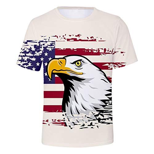 Strungten Herren Shirts,Männer American Stars Flag Kurzarm-Print Tank Top Shirt Sommer T-Shirt Amerikanisch Flagge Kurze Ärmel Bluse Shirt Top Casual Rundhalsschnitt Übergroß 3D Druck Print