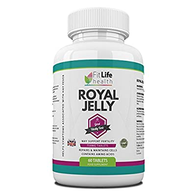 Royal Jelly by Fit Life Health - High Strength 750mg - For Healthy Hair And Skin - Boosts Energy Levels - Helps Fight The Symptoms Of Hay Fever - Suitable For Vegetarians - 60 Tablets - Made In UK from PLN
