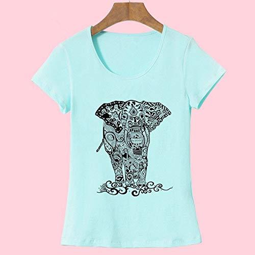XIAOBAOZITXU Sommer T-Shirts Damenmode Kurzarm Oansatz T-Shirt Elefant Gedruckt Top Crop Top Himmelblau XXL