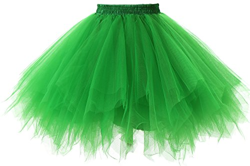 Poplarboy Damen Kurz 50er Vintage Petticoat Reifrock Mehrfarbengroß Unterröcke Braut Crinoline Ballett Blase Tutu Ball Kleid Underskirt (Ballon Grüne Kostüm)