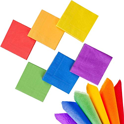 whaline 120 Stück Cocktail Papier Serviette Getränke Servietten 2-lagig für Party Dekoration (Rainbow Farbe) (Neon Supplies Party Bulk)