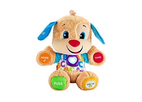Produktbild Fisher-Price FPM50 - Lernspaß Hündchen, Plüschtier und Lernspielzeug mit Liedern und Sätzen, mitwachsende Spielstufen, Baby Spielzeug ab 6 Monaten, deutschsprachig